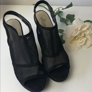 Sbicca Mesh Wedge Sandals Black Size 10